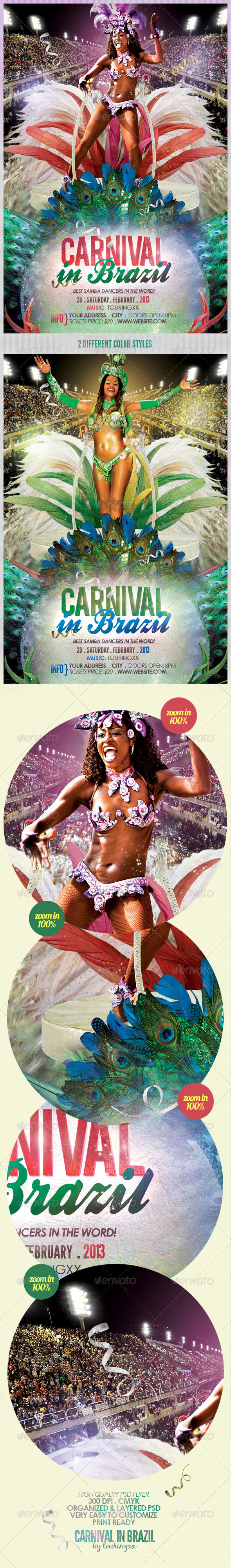 Carnival In Brazil Flyer Template - Clubs & Parties Events