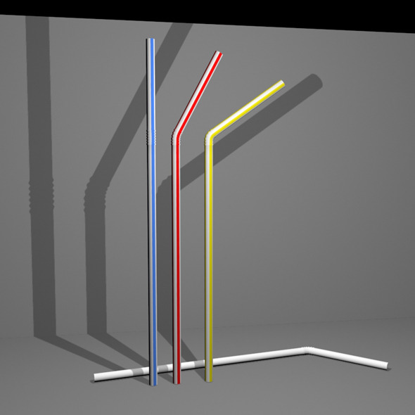 Simple Plastic Style Drinking Straw with Textures - 3DOcean Item for Sale