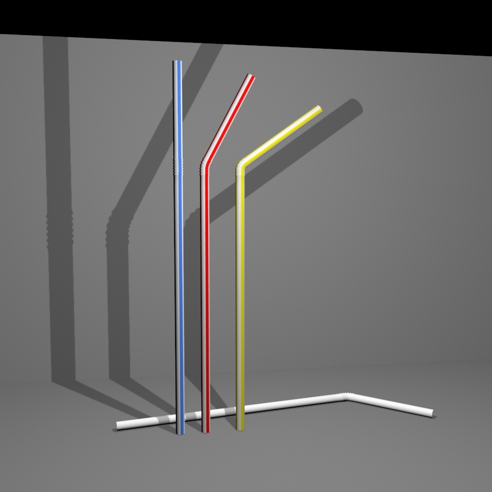Simple Plastic Style Drinking Straw with Textures