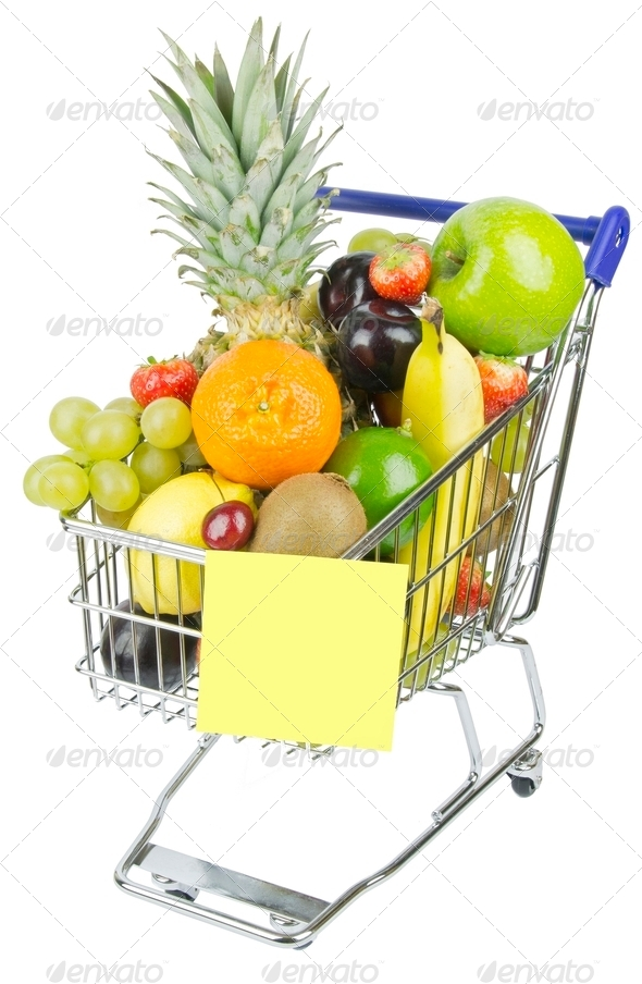 Shopping Cart and Fruit - Stock Photo - Images