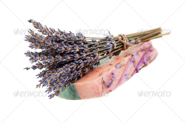 Handmade soaps, and sprigs of lavender - Stock Photo - Images