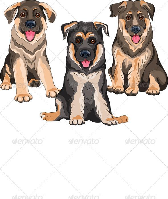 Vector Set Smiling Puppies Dog German Shepherd - Animals Characters