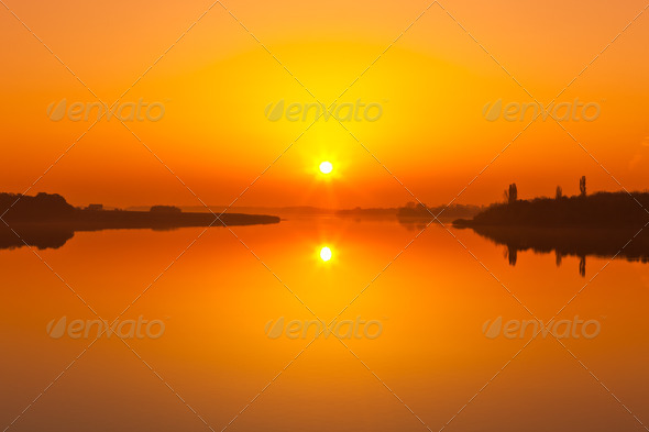 sunrise lake - Stock Photo - Images