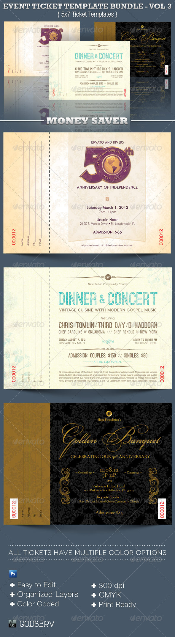 Event Ticket Template Bundle Volume 3 - Miscellaneous Print Templates