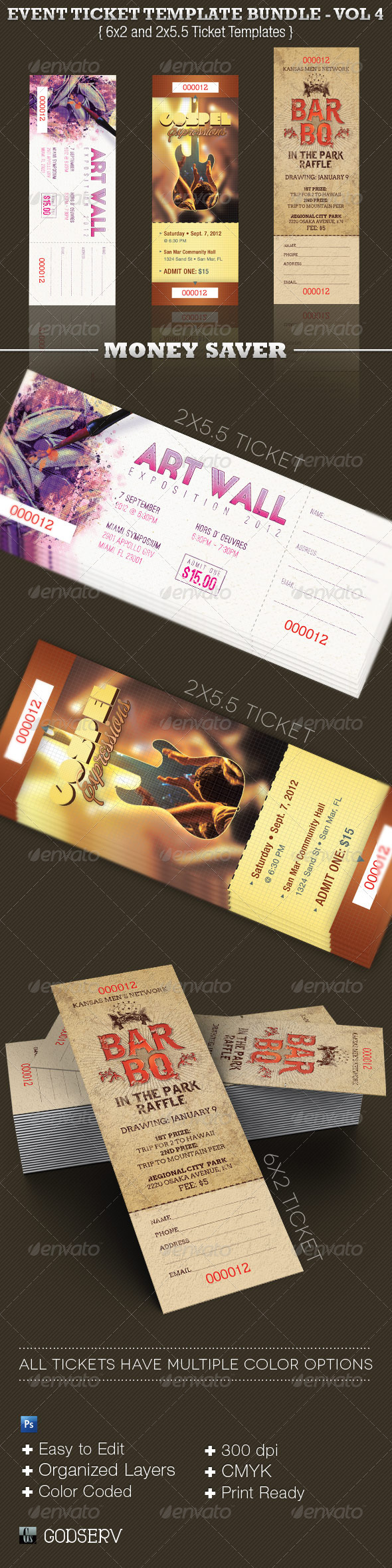 Event Ticket Template Bundle Volume 4 - Miscellaneous Print Templates