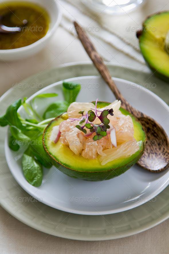 Avocado with Grapefruit salad - Stock Photo - Images