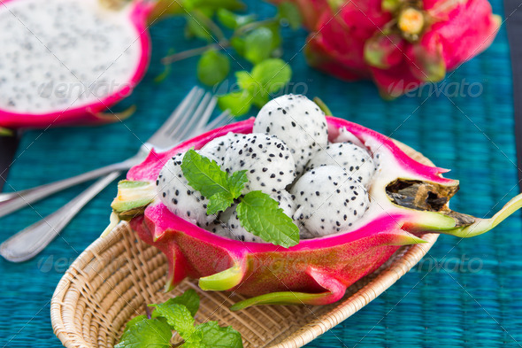 Dragon fruit salad  - Stock Photo - Images