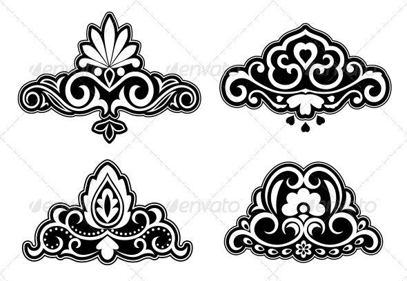 Flower Patterns and Borders - Decorative Symbols Decorative