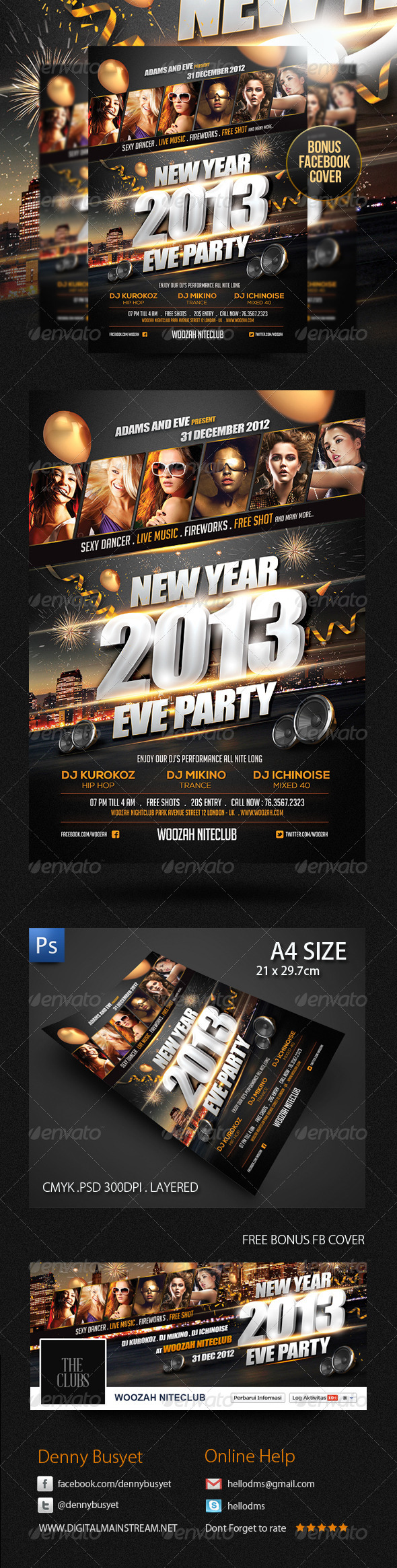 New Years Eve Party Flyer Poster Template - Clubs & Parties Events