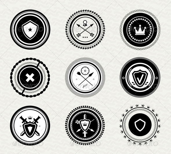 Vintage Retro Protect Badges and Labels - Decorative Symbols Decorative