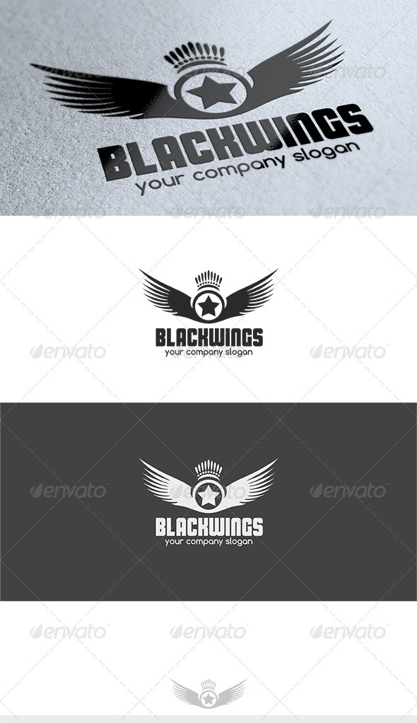 Black Wings Logo - Crests Logo Templates