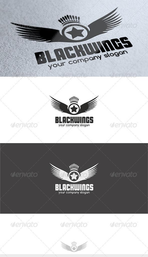 Black Wings Logo - Crests Logo Templates