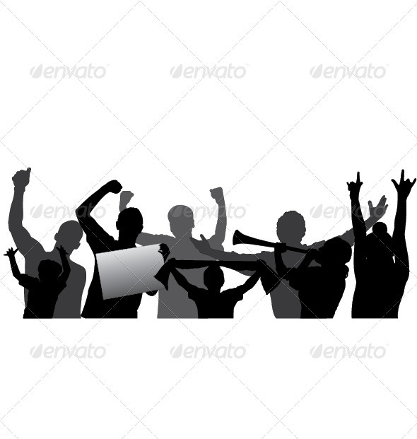Sports Fans, Cheering Crowd Vector Silhouettes. - People Characters