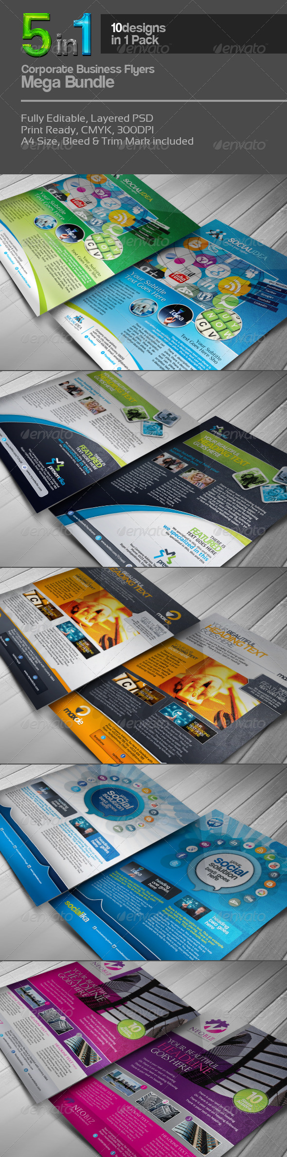 5 in 1 Corporate Flyers Mega Bundle - Corporate Flyers