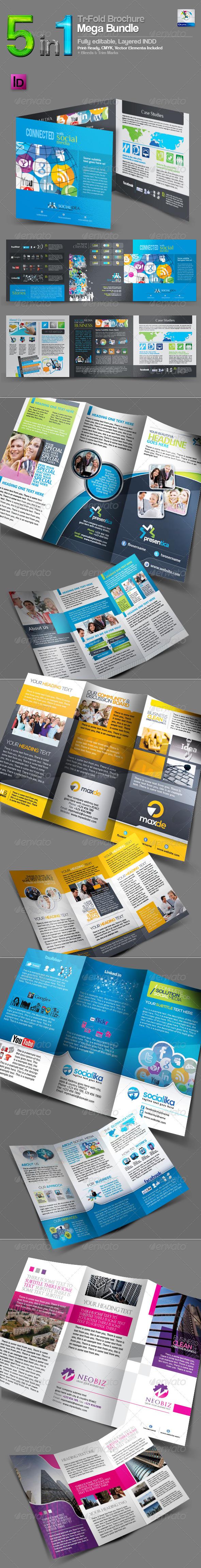 5 in 1 Tri-Fold Brochure Mega Bundle - Corporate Brochures
