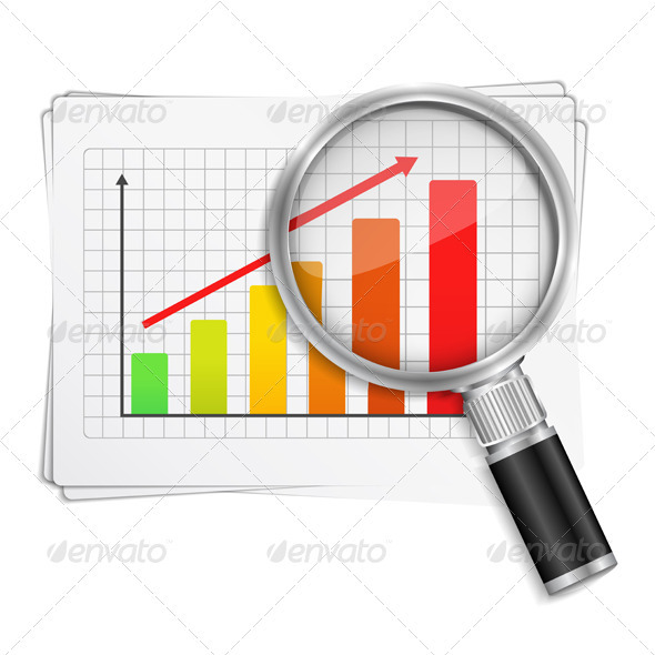 Chart with Magnifying Glass - Concepts Business