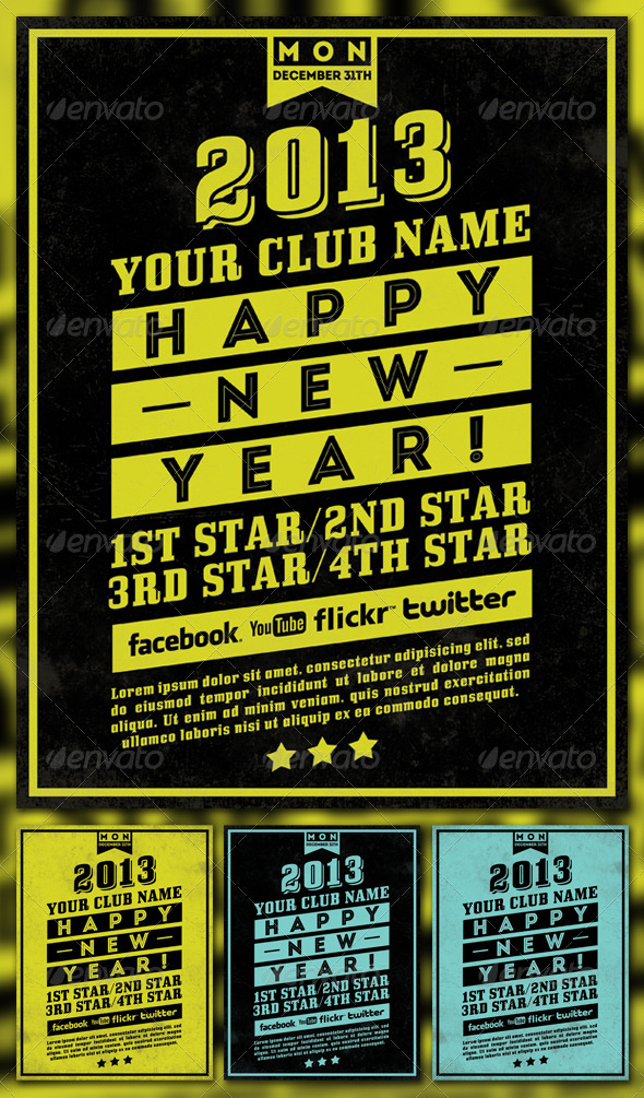 Happy New Year 2013 Simple Flyer - Holidays Events