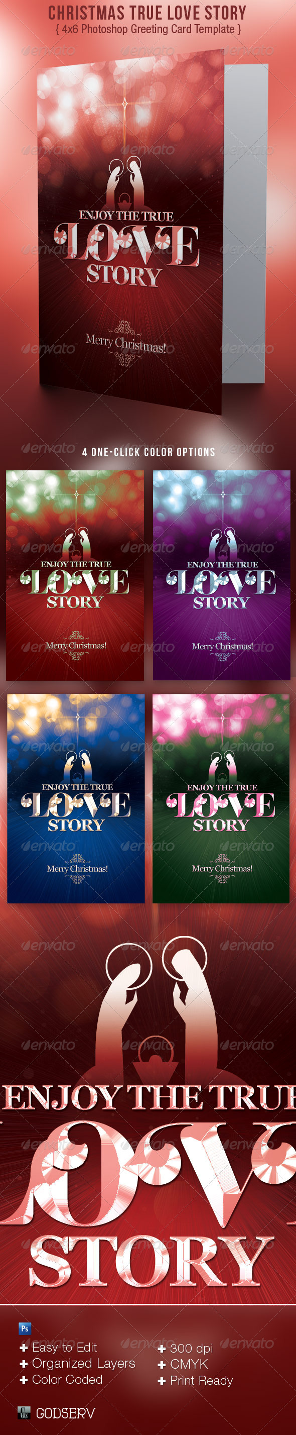 Christmas True Love Story Greeting Card Template - Holiday Greeting Cards