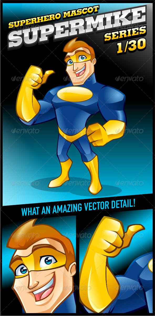 Superhero Mascot - Supermike Series 1/30 - Characters Vectors