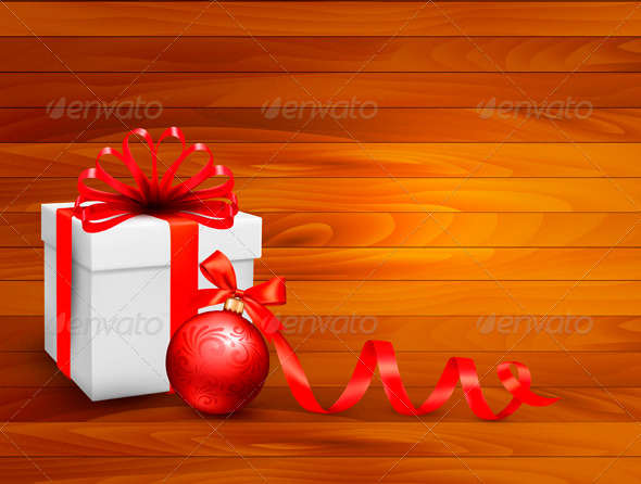 Holiday Background with Gift Box and Red Ball - Christmas Seasons/Holidays