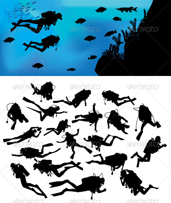 Scuba Diving Silhouettes - Sports/Activity Conceptual
