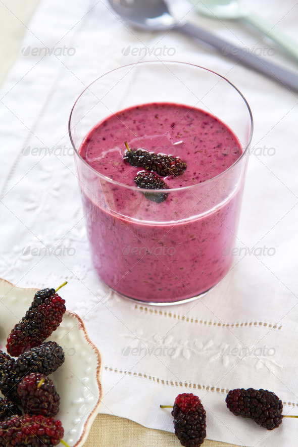Mulberry smoothie - Stock Photo - Images