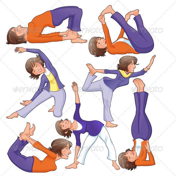 Yoga Positions - Sports/Activity Conceptual