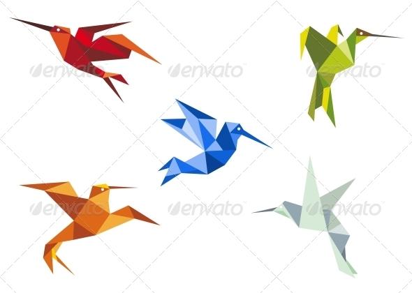 Flying Color Origami Hummingbirds - Decorative Symbols Decorative