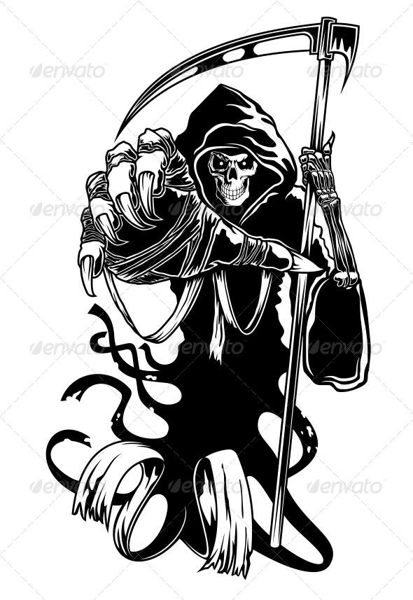 Black Death with Scythe - Tattoos Vectors