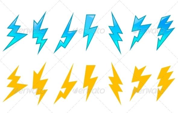 Set of Lightning Icons - Decorative Symbols Decorative