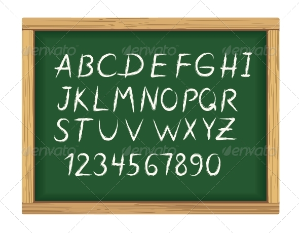 School Board with Chalk Alphabet Letters - Man-made Objects Objects