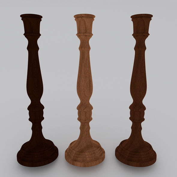 Wood Candlestick - 3DOcean Item for Sale