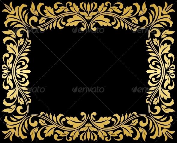 Vintage Gold Frame with Floral Elements - Borders Decorative