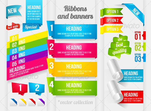 Ribbon and Banner Collection - Web Elements Vectors