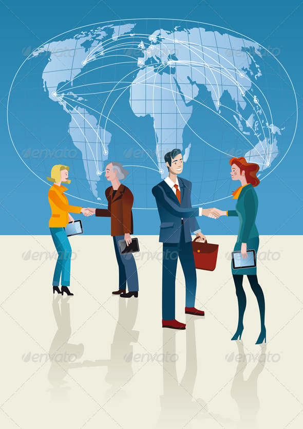 Business People and World Map - Backgrounds Business