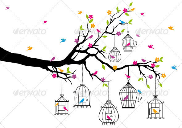 Vector  Tree With Birds and Birdcages - Animals Characters