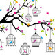 Vector  Tree With Birds and Birdcages - GraphicRiver Item for Sale
