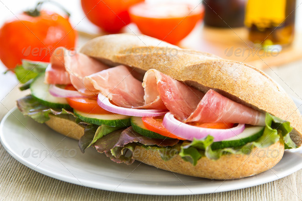 Prosciutto sandwich  - Stock Photo - Images