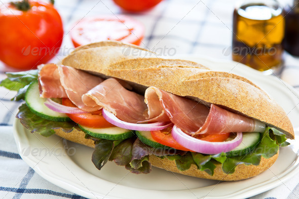 Prosciutto sandwich  - Stock Photo - Images