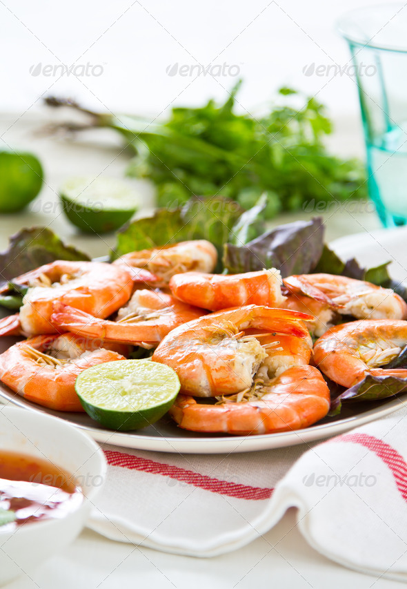 Steamed prawn  - Stock Photo - Images