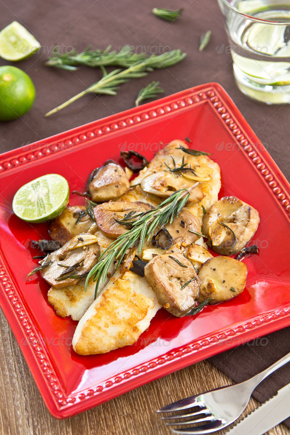 Grilled Dory fish with sautéed mushroom - Stock Photo - Images