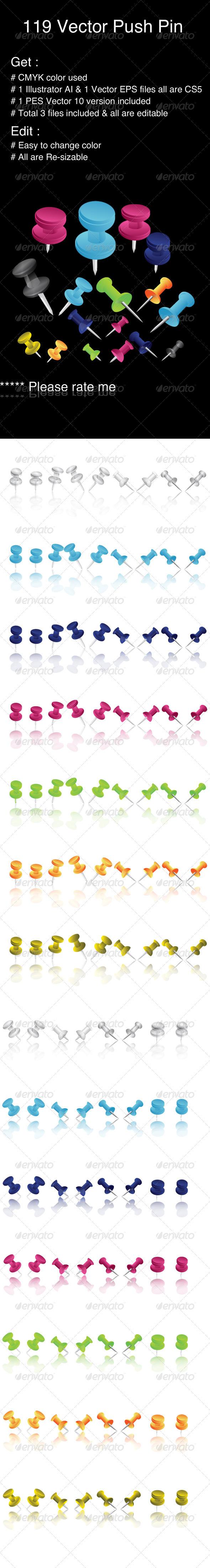 84 Push Pins - Miscellaneous Vectors
