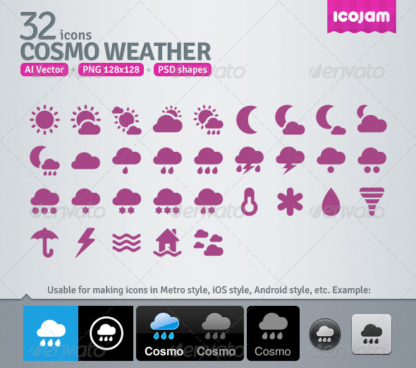 32 AI and PSD Weather Icons - Media Icons