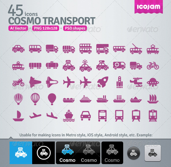 45 AI and PSD Transport Icons - Media Icons