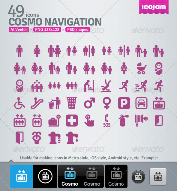 49 AI and PSD Navigation Icons - Media Icons