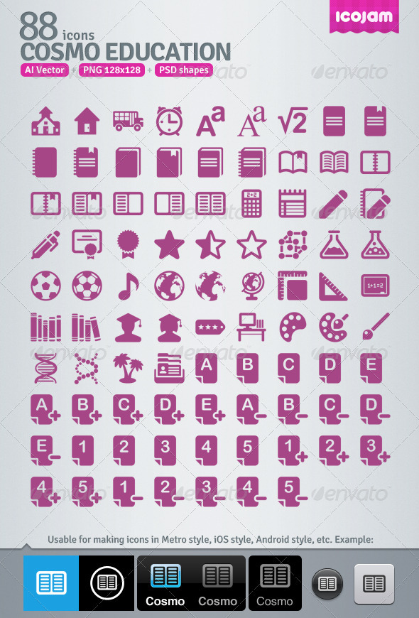 88 AI and PSD Education Icons - Media Icons