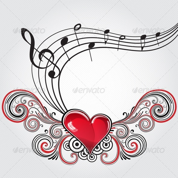 Grunge Music Heart - Miscellaneous Vectors