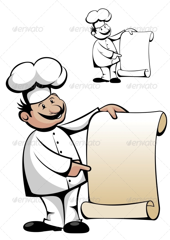 Chef in Uniform with Menu - People Characters