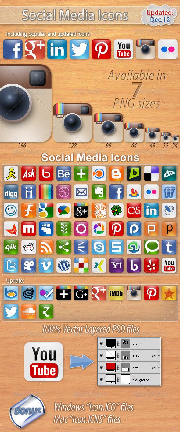 60 Social Media Icons - Media Icons