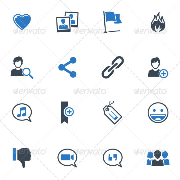 Social Media Icons Set 2 - Blue Series - Media Icons